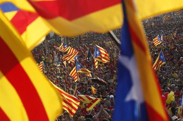 Catalan separatist flags