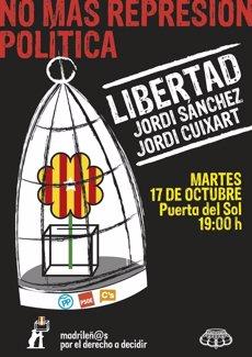 Madrilenys pel Dret a Decidir convoquen avui a Sol una concentració per l'alliberament de Sànchez i Cuixart (MADRILEÑOS POR EL DERECHO A DECIDIR)