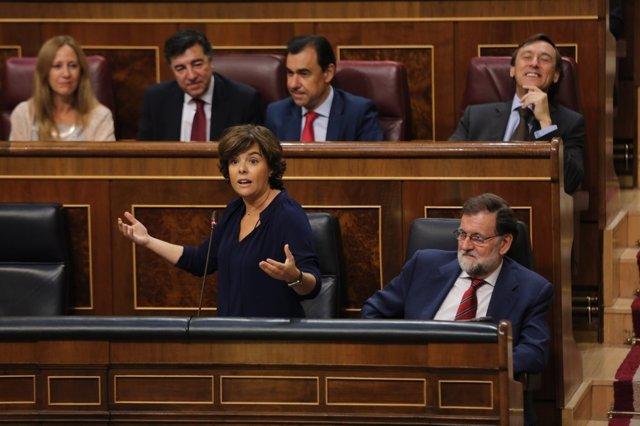 Santamaría i Rajoy en la sessió de control al Govern al Congrés