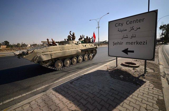 Un blindado iraquí en Kirkuk