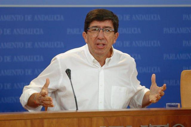 El líder de Cs en Andalucía, Juan Marín, en rueda de prensa
