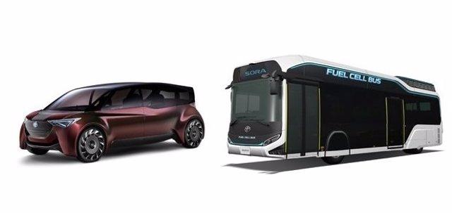 Prototipos de Toyota impulsados por pila de combustible de hidrógeno
