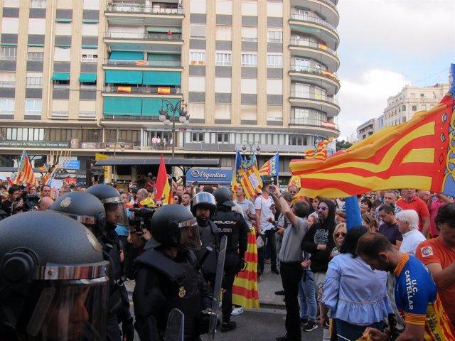 Momento  de la manifestación en la Plaza San Agustín