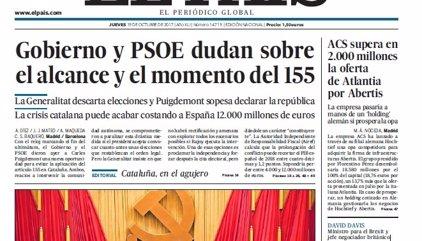 Las portadas de los periódicos de hoy, jueves 19 de octubre de 2017