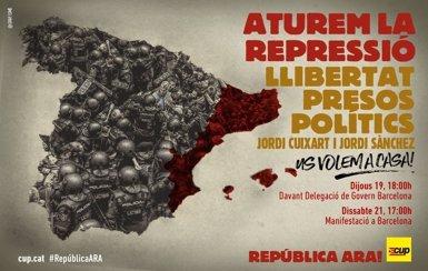La CUP crida a concentrar-se davant la Delegació del Govern espanyol aquest dijous a les 18:00 hores (@CUPNACIONAL)