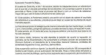 Texto íntegro de la carta de Carles Puigdemont al Gobierno