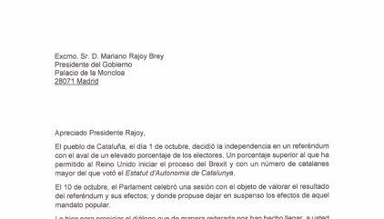 Text íntegre de la carta de Puigdemont al Govern espanyol