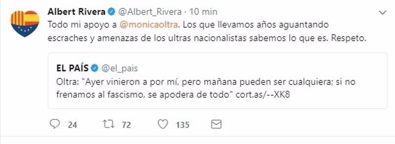 """Rivera pide respeto a Oltra: """"Los que llevamos años aguantando  amenazas de ultras nacionalistas sabemos lo que es"""""""