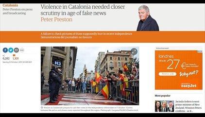 """El exdirector de The Guardian lamenta las """"noticias falsas"""" sobre los heridos del 1-O"""