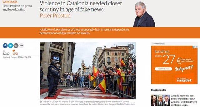 Imagen del artículo publicado en The Guardian