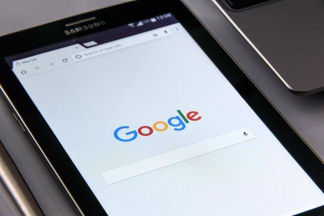 Google logo, smartphone, tablet