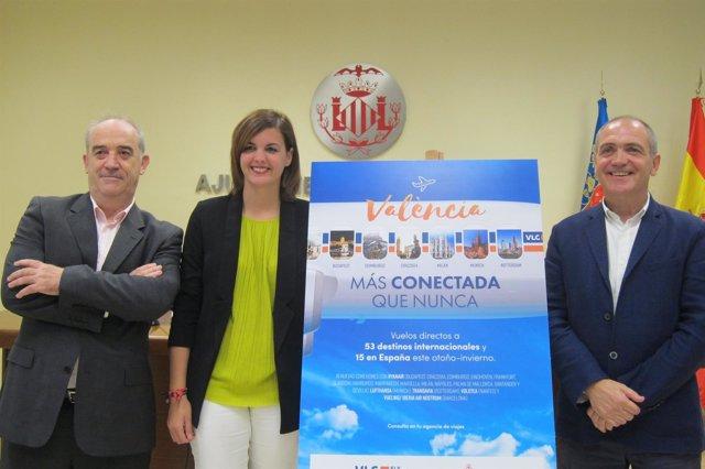Sandra Gómez, Antoni Bernabé y Miguel Jiménez presentando la campaña