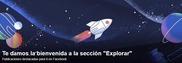 Nueva sección Explorar de Facebook