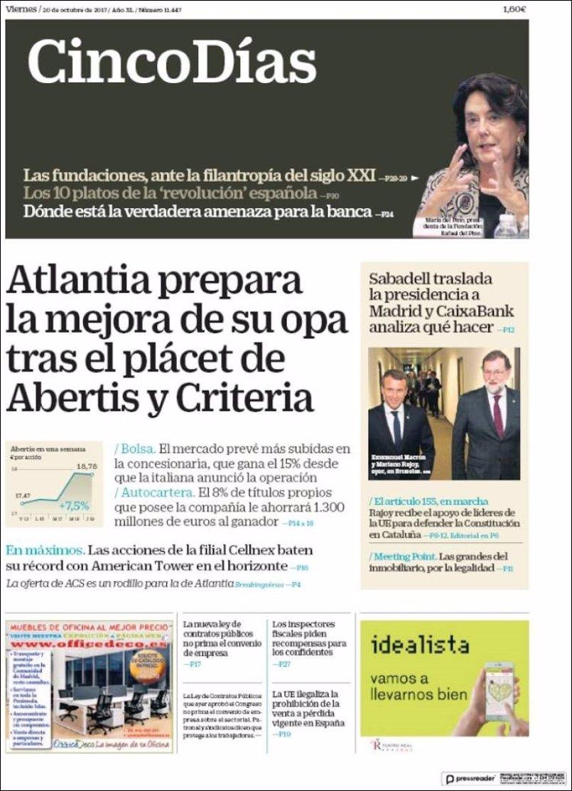 Las portadas de los periódicos económicos de hoy, viernes 20 de octubre