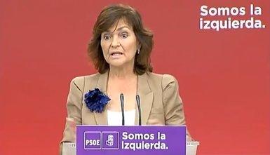Carmen Calvo (PSOE) confirma un pacte amb el Govern espanyol per convocar autonòmiques el mes de gener a Catalunya (YOUTUBE/PSOE)