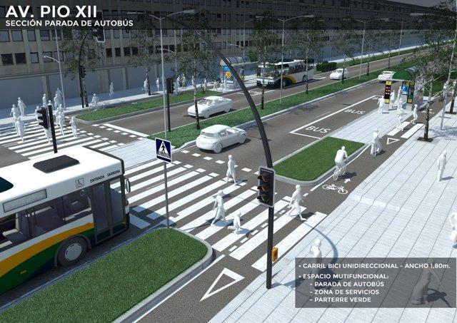 Reordenación de la avenida de Pío XII en Pamplona.