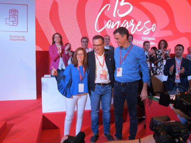 Pedro Sánchez y Diego Conesa en el congreso del PSOE de Murcia.