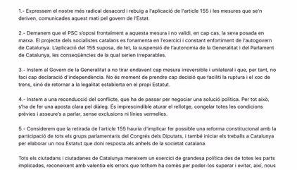 Cuatro alcaldes del PSC en grandes ciudades piden al partido rechazar totalmente el 155