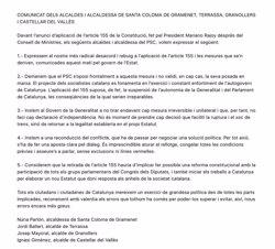 Quatre alcaldes del PSC en grans ciutats demanen al partit rebutjar totalment el 155 (@JORDI_BALLART )
