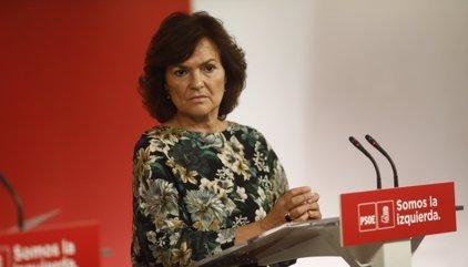 """Carmen Calvo insta a Colau a """"repensarse"""" calificar de """"golpe a la democracia"""" la aplicación del artículo 155"""
