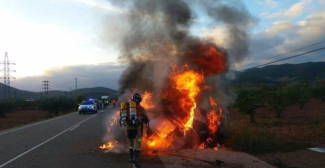 Accidente de tráfico esta mañana en El Frasno.