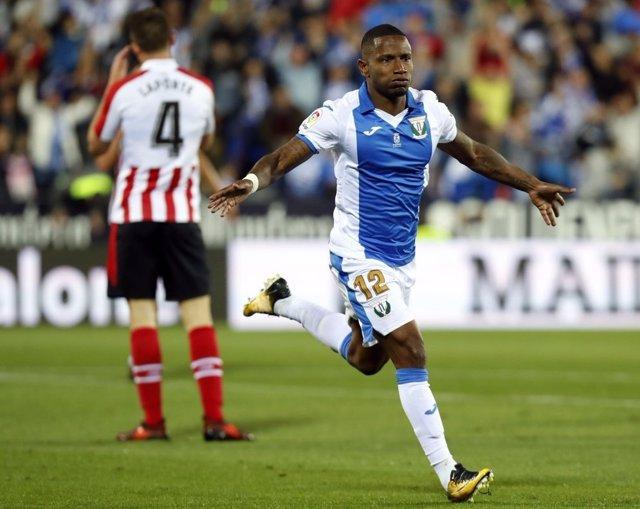 Beauvue celebra el gol del Leganés ante el Athletic