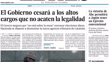 Las portadas de los periódicos de hoy, lunes 23 de octubre de 2017