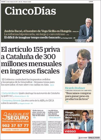 Las portadas de los periódicos económicos de hoy, lunes 23 de octubre