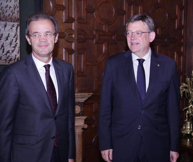 Puig se reúne con el presidente de Caixabank en el Palau de la Generalitat