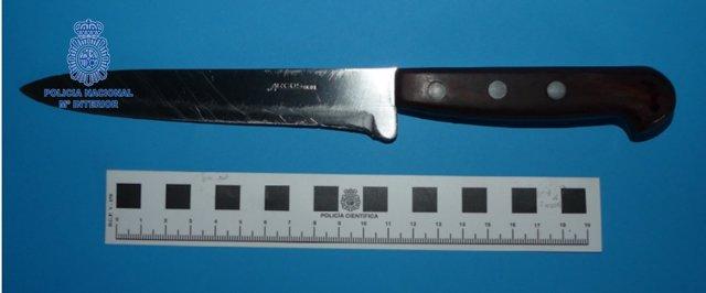 Cuchillo empleado para robar