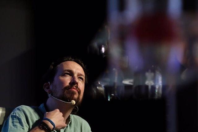 El secretario general de Podemos, Pablo Iglesias, durante el acto