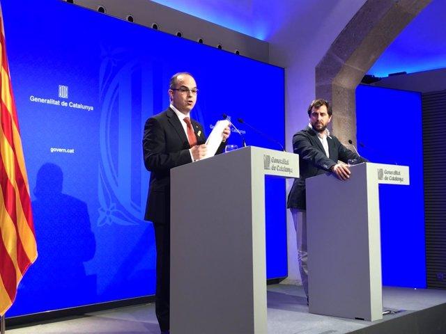 El portavoz del Govern, J.Turull, y el conseller de Salud T.Comín