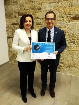 Otilia Requejo con el director del Instituto Europeo de Itinerarios Culturales