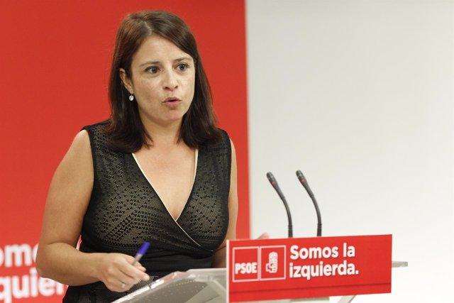 Adriana Lastra, en rueda de prensa tras la reunión del PSOE
