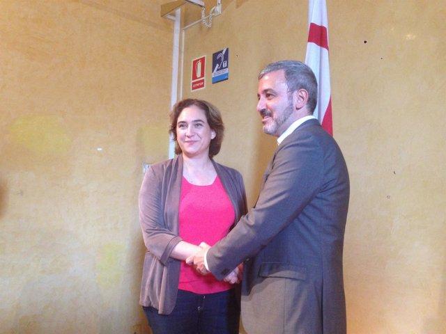 Ada Colau (BComú) y Jaume Collboni (PSC)