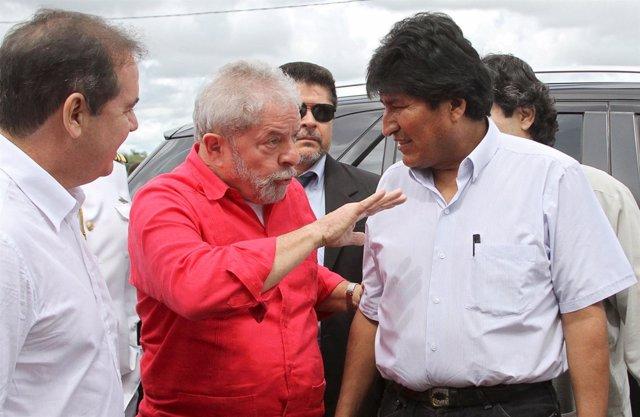 Evo Morales y Lula da Silva durante un encuentro en Brasil en mayo de 2015