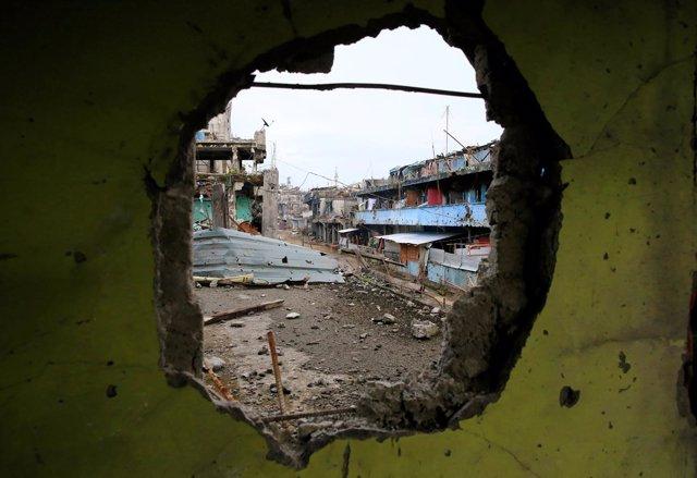 Edificio dañado en Marawi