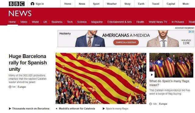 Portada de la BBC durante la manifestación a favor de la unidad de España