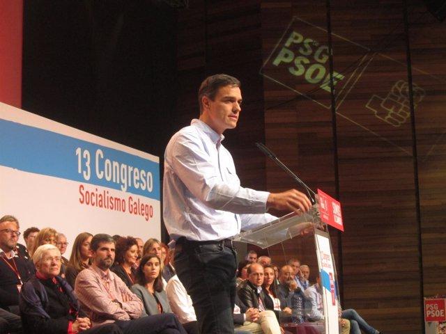 El líder del PSOE, Pedro Sánchez, interviene en el Congreso del PSdeG