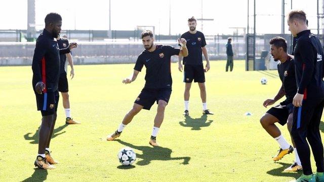 André Gomes Umtiti Ter Stegen entrenamiento Barcelona