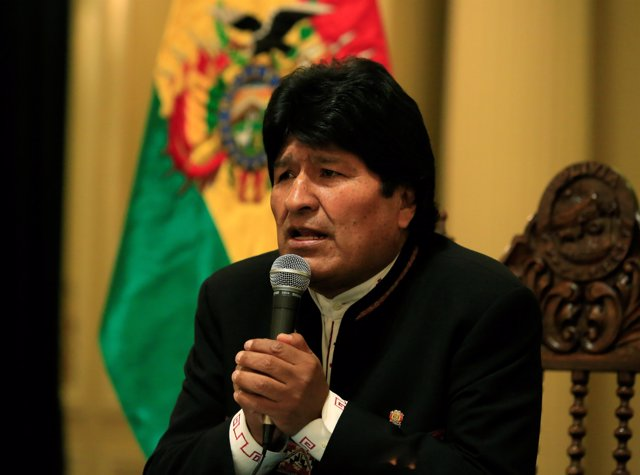 Bolivia's President Evo Morales speaks during a news conference at the president