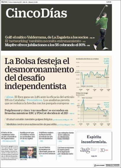 Las portadas de los periódicos económicos de hoy, martes 31 de octubre
