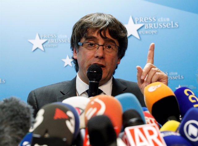 Rueda de prensa de Puigdemont en Bruselas