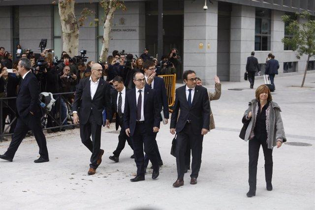 Rull, Forn, Romeva y Turull llegan a la Audiencia Nacional para declarar