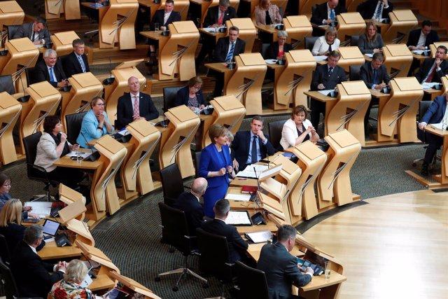 Nicola Sturgeon, en un discurso en el Parlamento escocés
