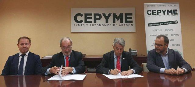 Firma de acuerdo entre COAATZ y CEPYME.