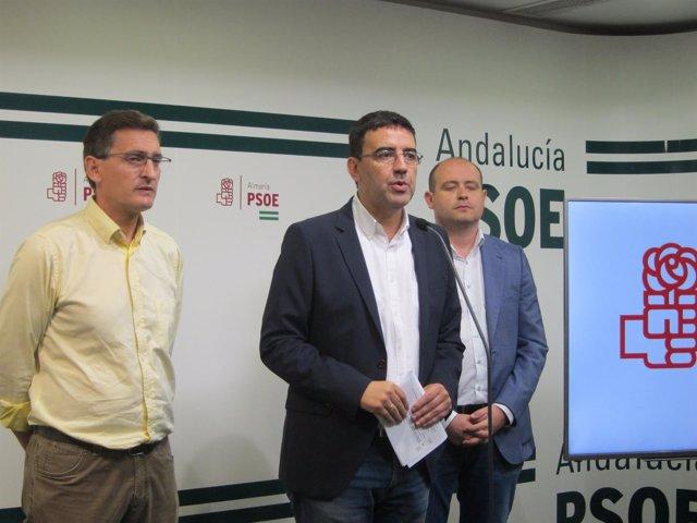 En el centro, el portavoz del PSOE-A en el Parlamento, Mario Jiménez