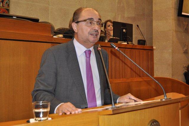El presidente de Aragón, Javier Lambán, ha comparecido hoy en las Cortes