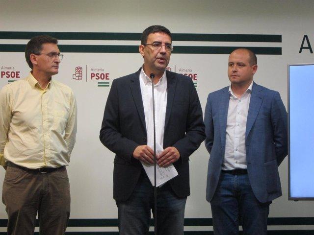 En el centro, el portavoz del PSOE-A en el Parlamento andaluz, Mario Jiménez