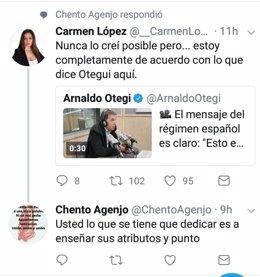 Conversación en Twitter entre ambos concejales.